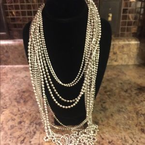 🌻CHICO'S Multi Chain Beaded Waterfall Necklace